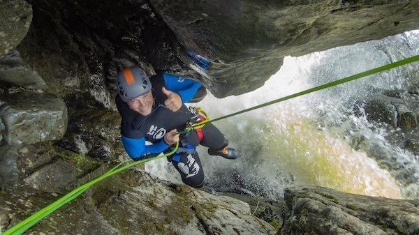 Abseiling the funnel in Longsleddale