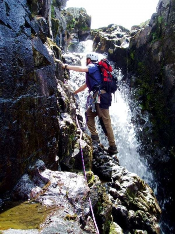 Climbing a water in the Lake District - staying dry while rock scrambling