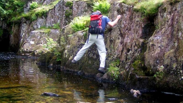 Dry scrambling a mountain ghyll