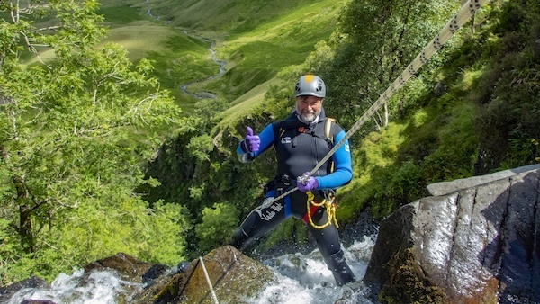 Huge abseil at Cautley spout canyon