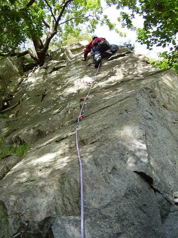 Lead climbing at Tremadog wales- multi-pitch climbing at Tremadog