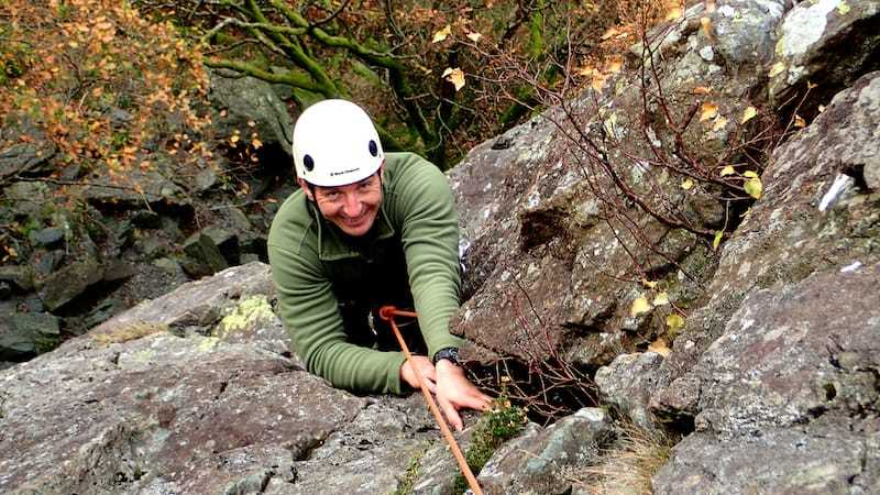 Multi-pitch-climbing brown slabs-climbing at shepherds crag