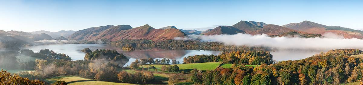 A fantastic panoramic view of Derwent Water and its fells, including Cat Bells and Maiden Moor with Causey Pike off to the right of the picture.