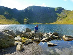 Red Tarn shore line with Stridding Edge in the background. A great place to relax during a walk