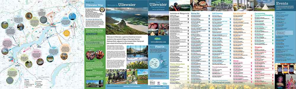 A picture of a leaflet that illustrates the Ullswater way and surrounding business's