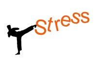 an illustration of a man kicking the word stress